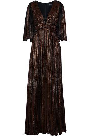 J.MENDEL Cape-effect plissé silk-blend lamé gown