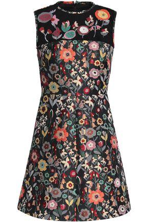 REDValentino Embroidered tulle-paneled jacquard mini dress