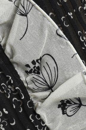 REDValentino Ruffle-trimmed printed silk-blend georgette mini dress