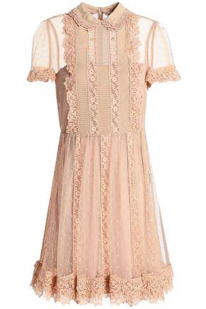 REDValentino Guipure lace-trimmed point d'esprit mini dress