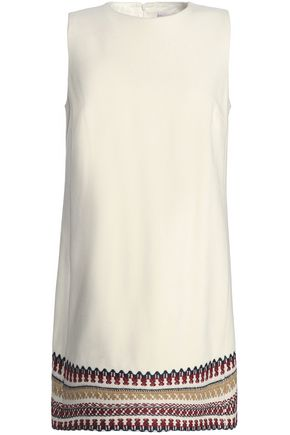REDValentino Embroidered brushed wool-blend mini dress