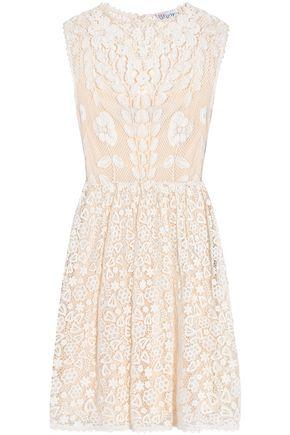 REDValentino Pleated cotton guipure lace dress