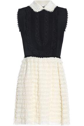 REDValentino Picot-trimmed tulle, guipure lace and silk-georgette mini dress