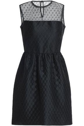REDValentino Point d'esprit-paneled flared jacquard mini dress