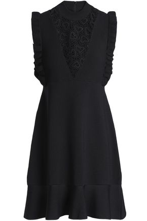 REDValentino Guipure lace-paneled ribbed and stretch-knit mini dress