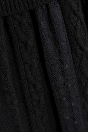 REDValentino Paneled cable-knit and point d'esprit mini dress