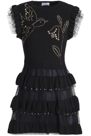 REDValentino Eyelet-embellished ribbed-knit and point d'esprit mini dress