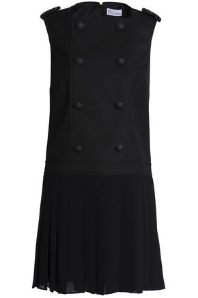 REDValentino Paneled twill and georgette mini dress