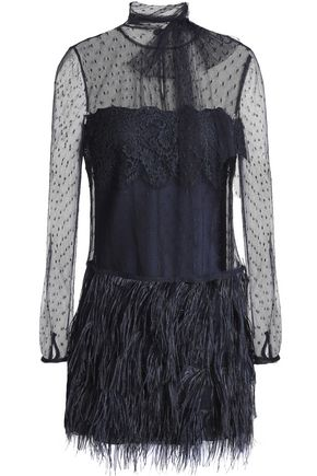 REDValentino Feather-embellished lace and point d'esprit mini dress