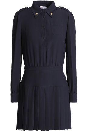 REDValentino Embellished pleated crepe mini dress