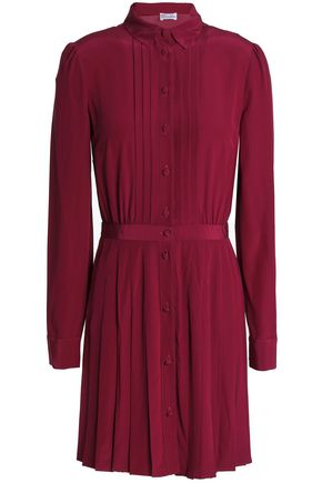 REDValentino Pleated silk crepe de chine mini shirtdress
