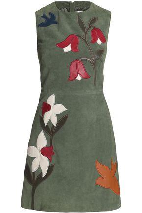 REDValentino Leather-appliquéd suede mini dress