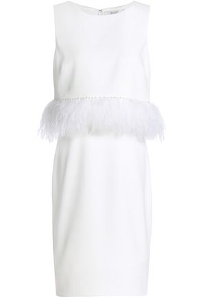 BADGLEY MISCHKA Feather and faux pearl-embellished cady dress