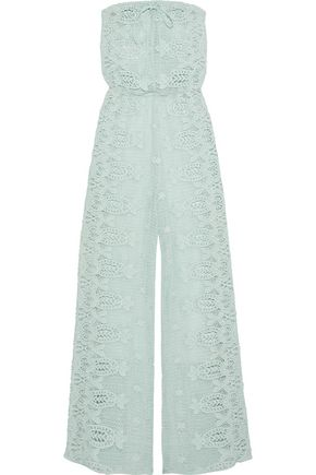 MIGUELINA Piper strapless crocheted cotton jumpsuit