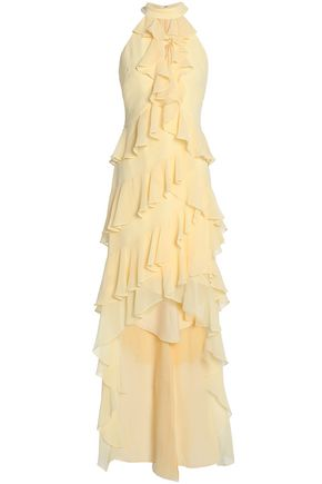 BADGLEY MISCHKA Cutout ruffled georgette dress