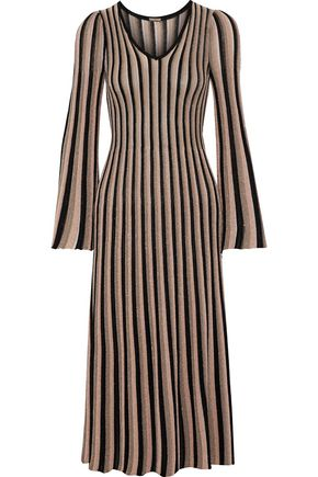 ADAM LIPPES Pleated metallic striped knitted midi dress