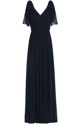 BADGLEY MISCHKA Bow-embellished pleated georgette gown