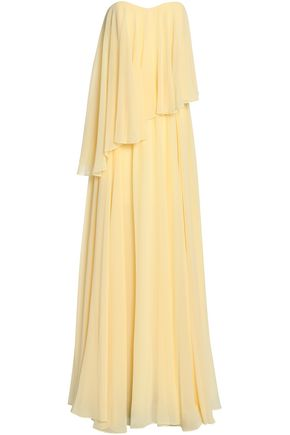 BADGLEY MISCHKA Strapless layered georgette gown