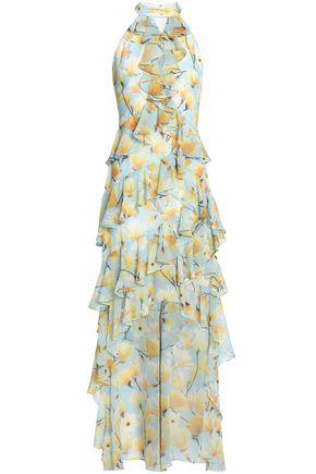BADGLEY MISCHKA Cutout ruffled floral-print georgette dress