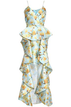 BADGLEY MISCHKA Ruffled floral-print duchesse satin twill gown