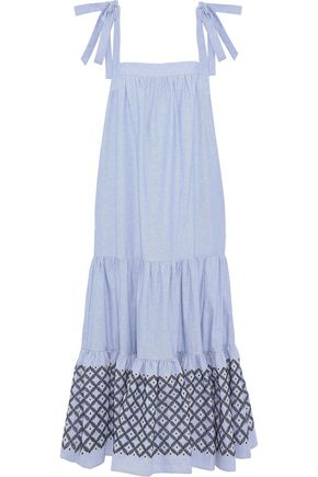 REBECCA MINKOFF Lucy embroidered cotton Oxford midi dress