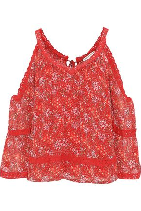 REBECCA MINKOFF Deneuve cold-shoulder printed georgette top