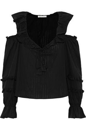 REBECCA MINKOFF Pippa cold-shoulder ruffled cotton-gauze blouse