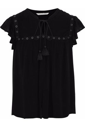 REBECCA MINKOFF Penny embellished ruffled gauze top
