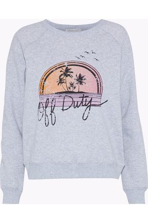 REBECCA MINKOFF Printed cotton-blend fleece sweatshirt