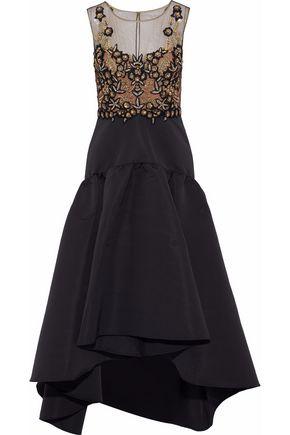 MARCHESA NOTTE Embellished tulle-paneled faille midi dress