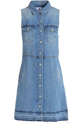 7 FOR ALL MANKIND Faded denim mini shirt dress
