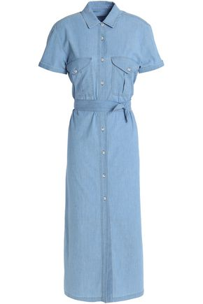 7 FOR ALL MANKIND Pleated stretch-cotton chambray midi shirt dress