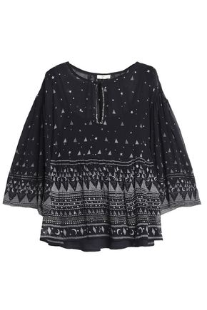 JOIE Verena embellished printed silk-georgette blouse
