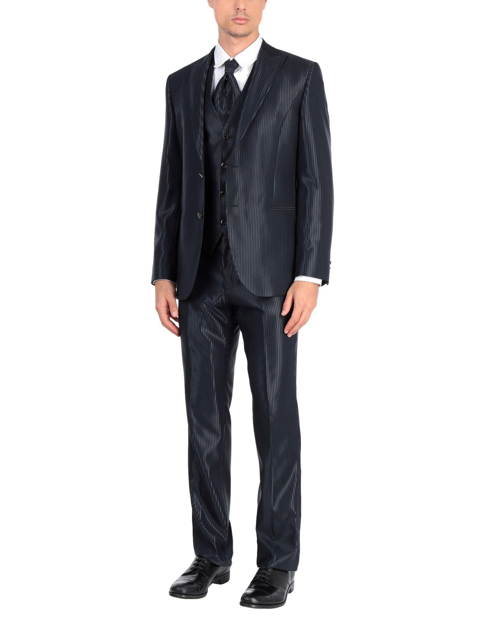 《送料無料》LUIGI BIANCHI Mantova メンズ スーツ ブラック 48 バージンウール 66% / ポリエステル 34%