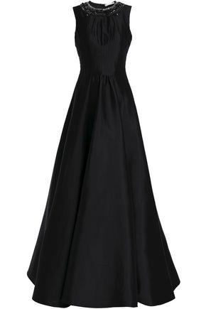 RACHEL GILBERT Alexis crystal-trimmed silk and cotton-blend jacquard gown