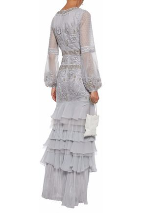J.MENDEL Embellished embroidered tulle gown