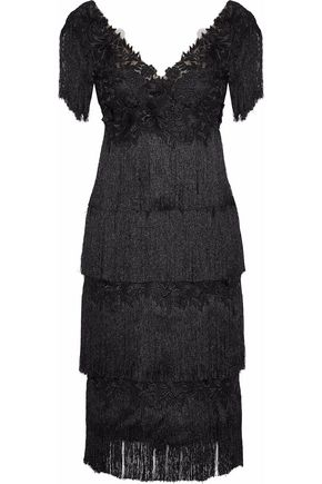 MARCHESA NOTTE Fringed embellished tulle dress