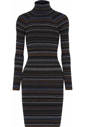 MILLY Metallic striped ribbed-knit mini dress