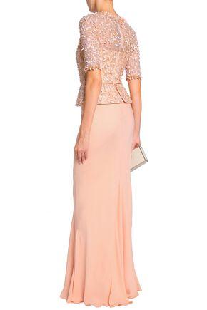 RACHEL GILBERT Embellished tulle-paneled silk crepe de chine gown