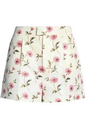 REDValentino Pleated floral-print faille shorts