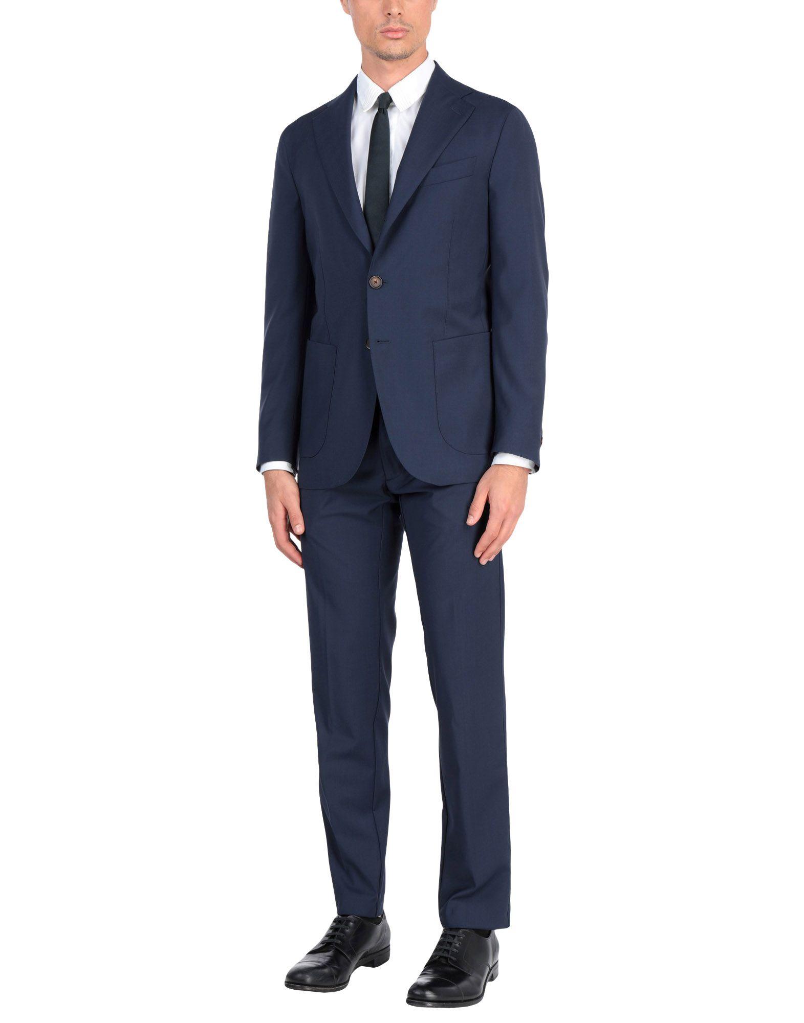 《送料無料》DOPPIAA メンズ スーツ ダークブルー 48 バージンウール 100%