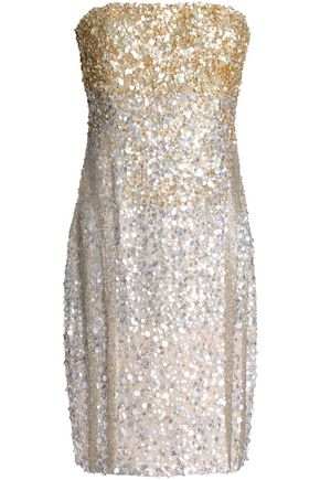RACHEL GILBERT Dégradé sequined chiffon dress