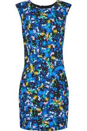 MILLY Printed stretch-cady mini dress