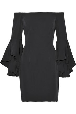 MILLY Selena off-the-shoulder ruffled crepe mini dress