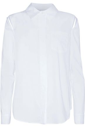 MILLY Cassie cutout cotton-poplin shirt