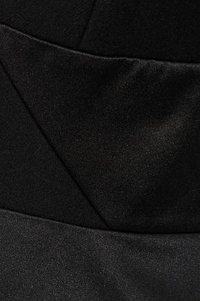 MILLY Felt-paneled pleated duchesse satin jumpsuit