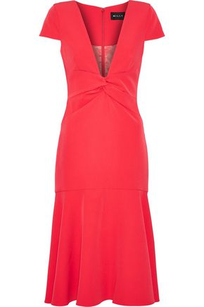 MILLY Bella twist-front stretch-cady dress