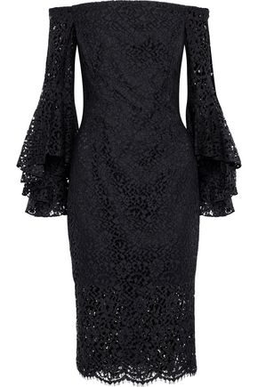 MILLY Selena off-the-shoulder guipure lace dress