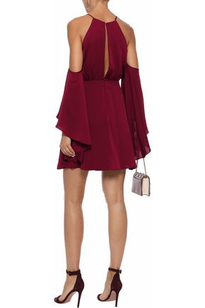 MILLY Melody cold-shoulder cutout stretch-silk mini dress