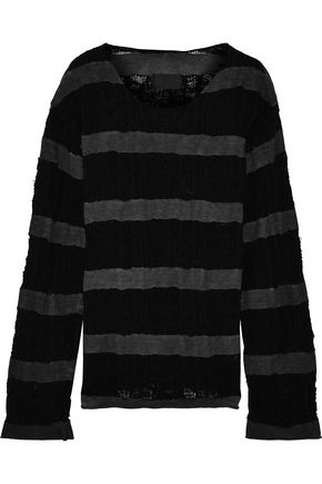 RTA Distressed open-knit and French cotton-terry top